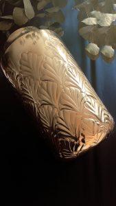 gold Art deco shell flower pot vase, gold flower pot, gold flower vase