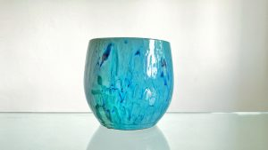 Blue Glossy Ceramic Flower / Plant Pot 16 cm