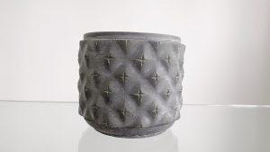 Grey 15 cm flower plant pot